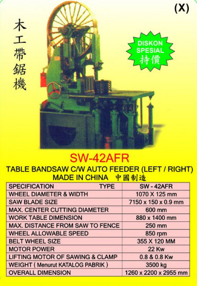AKS Table Bandsaw C/W Auto Feeder (Left/Right) SW-42AFR