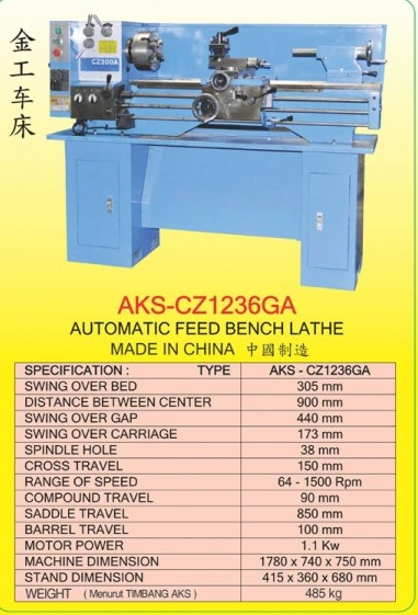 AKS Automatic Feed Bench Lathe AKS-CZ1236GA