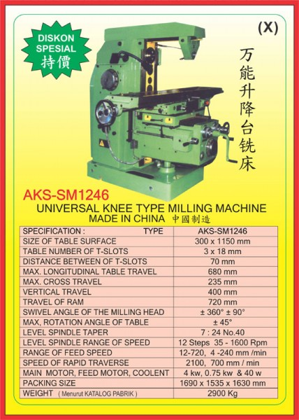 AKS Universal Knee Type Milling Machine AKS-SM1246