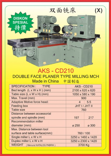 AKS Double Face Planer Type Milling Mch AKS-CD210