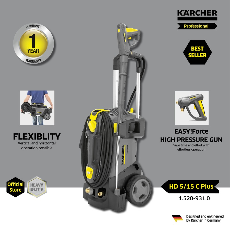 Karcher Cold Water High Pressure Washer Cleaners HD 5/15 C Plus (150 Bar/2800 W)